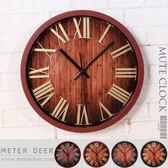 時鐘 木紋靜音掛鐘 3D立體金屬色羅馬數字 歐式復古 loft工業風 有框特色造型浪漫時鐘-米鹿家居