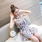 韓國性感游泳衣女連體保守裙式遮肚子顯瘦大小胸泡溫泉裝『夢娜麗莎精品館』