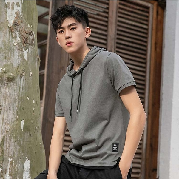 【精選新品任搭2件$499】純棉連帽T恤夏季款男款時尚款T恤