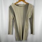 BRAND楓月 ISSEY MIYAKE 三宅一生 經典 灰白 圓領 皺褶線條 短洋裝 #3 長版上衣 彈性材質