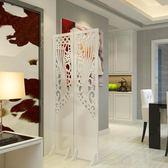 屏風隔斷玄關時尚客廳白色雕花折疊屏風店鋪櫥窗背景鏤空