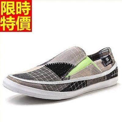 帆布鞋-時尚潮流新款格紋男休閒鞋67l6【巴黎精品】