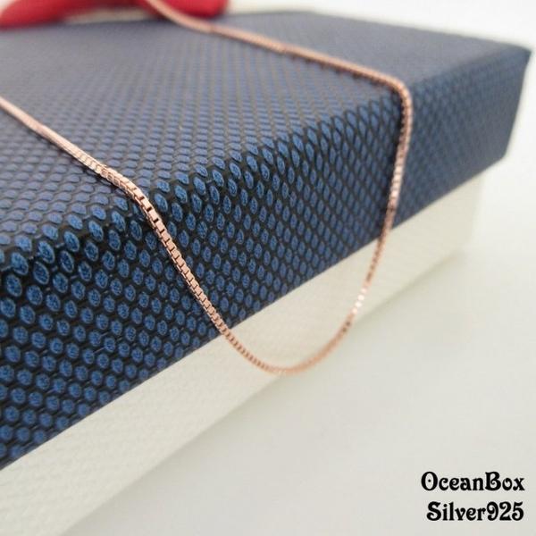 ☆§海洋盒子§☆16吋.18吋。極簡時尚。方格細緻義大利製玫瑰金純銀項鍊 《925純銀》
