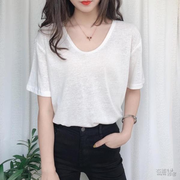 棉麻上衣 年夏季新款短袖女T恤V領寬松大碼薄款亞麻棉麻上衣早春裝體恤 衣櫥秘密