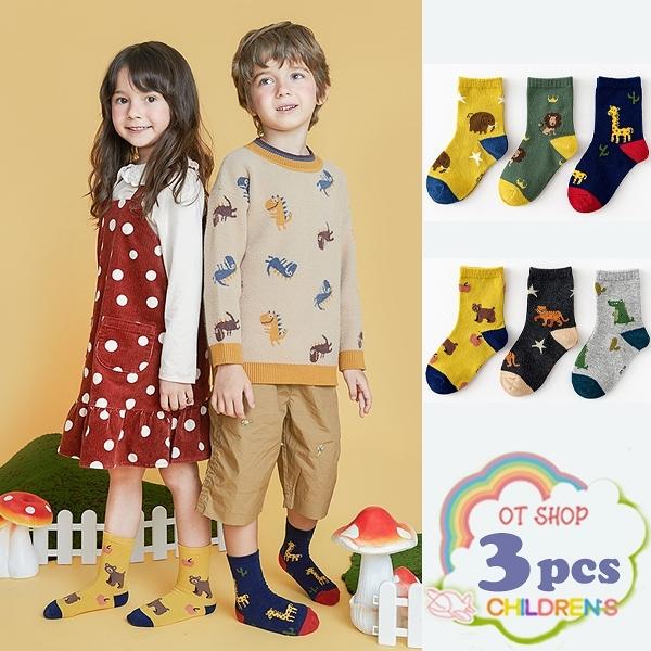 OT SHOP[現貨]三入組 兒童襪 男女童 襪子 中筒襪 運動襪 卡通 動物 長頸鹿 鱷魚 復古文青色系 M6022