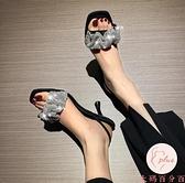 氣質小清新高跟涼鞋女仙女風羅馬小眾細跟夏季拖鞋【大碼百分百】