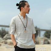原創復古男士亞麻短袖中國風立領盤扣襯衫薄款亞麻T恤休閒半袖【PINKQ】