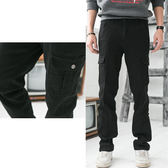 Uniqlo版牛仔褲-純黑百搭多重口袋設計工作褲