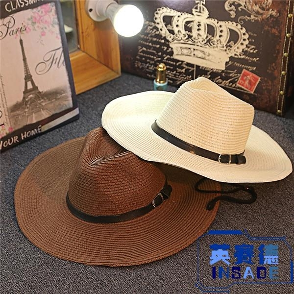 防曬男士草帽可折疊牛仔帽戶外遮陽禮帽沙灘帽大檐出游【英賽德3C數碼館】