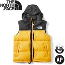 【The North Face 男 ICON經典配色鵝絨背心《黑/黃》】496T/羽絨背心/保暖背心