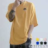 【OBIYUAN】短袖上衣 卡通 電繡 寬鬆 落肩 OVERSIZE 短袖T恤 共6色【K1005】