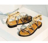 羅馬涼鞋女波西米亞鞋交叉綁帶涼鞋平底