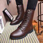 618好康又一發男士短靴時尚潮流軍短靴正韓長靴單鞋皮靴加絨刷毛棉鞋子新款
