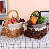 收納籃柳編藤編花籃野餐籃雞蛋籃購物籃禮品戶外神器提籃水果籃子  ATF