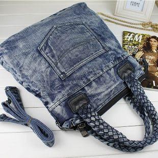 最新性感時尚頹廢風編織手提牛仔帆布手提單肩包斜背包女包...流行線