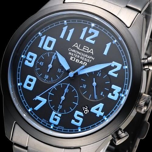ALBA 個性潮流三眼碼錶計時男錶-藍刻/IP黑(AT3529X1)【屈臣氏】