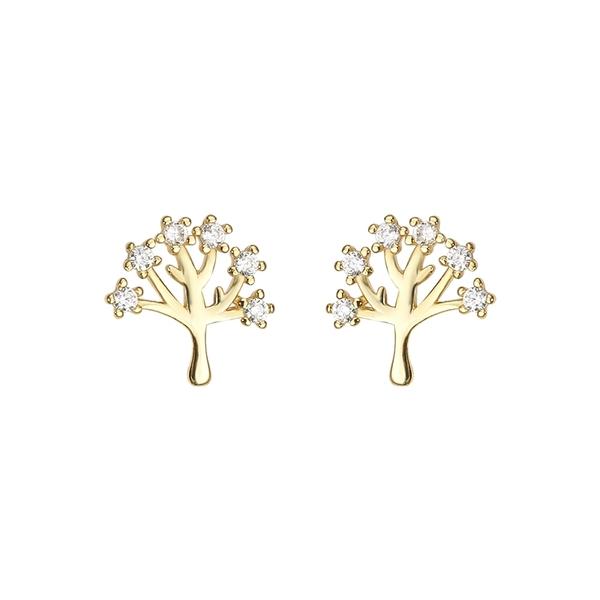 925純銀 小樹樹木生命之樹 天然白水晶 耳環耳針釘-金 防抗過敏