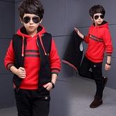 男童秋冬新款外套 個性潮流男童秋冬裝套裝新款中大童加絨加厚衛衣兒童三件套