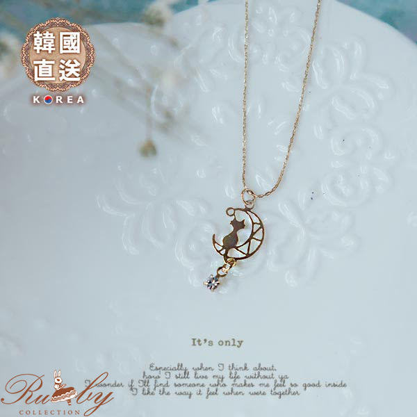 項鍊 韓國直送鏤空月亮水鑽貓咪項鍊-Ruby s 露比午茶
