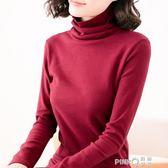 2019秋裝新款韓版修身大碼胖mm女裝上衣高領純棉長袖t恤打底衫女  【PINK Q】