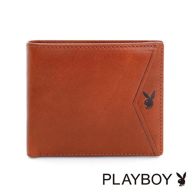PLAYBOY- 短夾 Gold Rush系列-原色棕
