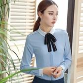 美之札[YS-7059-PF]襯衫領配色彩色領結OL長袖襯衫上衣(附領結)~秋裝新款~