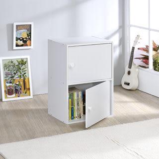 ONE HOUSE-優質白色2層門櫃/收納櫃/多層櫃/書架/置物櫃/高低櫃/展示櫃