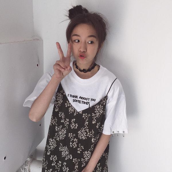 (全館一件免運)DE SHOP~(HL-7108)春夏女裝原宿個性圓環字母短袖T恤