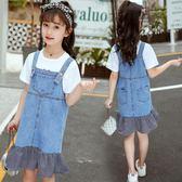 女童牛仔背帶裙夏款兩件套大童短袖連衣裙 LQ3794『小美日記』