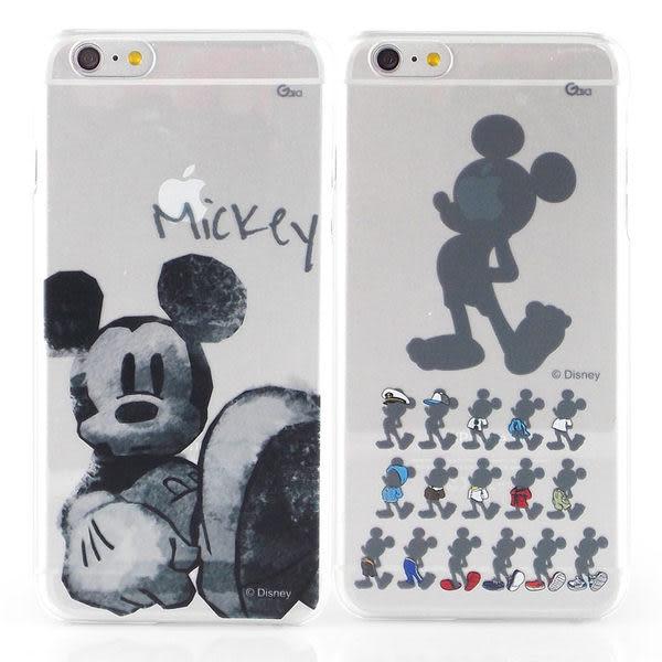 【Disney 】iPhone 6 Plus/6s Plus 彩繪手繪風透明保護硬殼-剪影米奇/水墨米奇