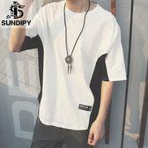 男士夏季寬鬆短袖韓版chic撞色圓領體恤衫純棉潮男裝短T恤