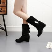 中筒靴 女靴中筒靴女冬冬季韓版內增高中跟馬丁靴水鉆短靴 萬客居