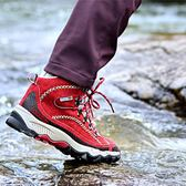 登山鞋 真牛皮登山鞋男士戶外運動女保暖防水防滑耐磨徒步鞋 晶彩生活