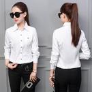 2020春秋新款白襯衫女長袖職業修身OL顯瘦工作服正裝大碼襯衣女裝