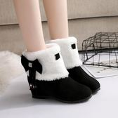短靴蝴蝶結流蘇原宿短靴女學生學院風保暖雪地靴套筒內增高靴子三角衣櫃
