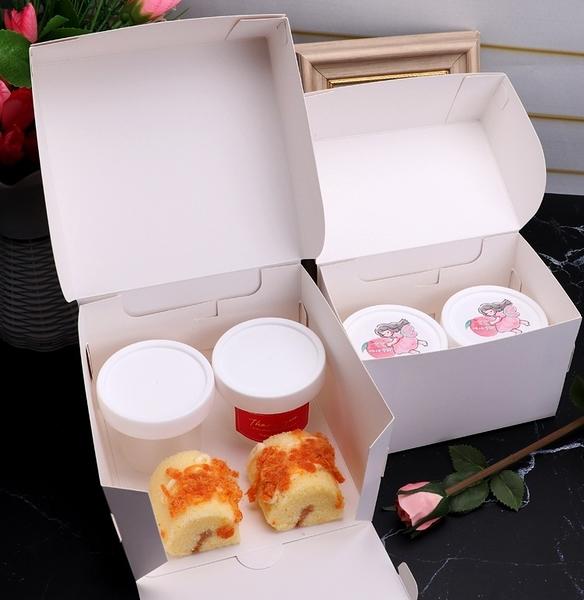 100ML 白蓋冰淇淋盒 2粒/4粒配套包裝盒 帶蓋塑膠杯布丁奶酪酸奶容器果凍包裝盒【C121】