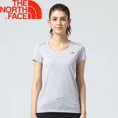 【The North Face 女排汗短T 《淺灰》】3CHZ/排汗衣/短袖