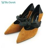 【Bo Derek 】拼接蝴蝶結腳背帶高跟鞋-駝