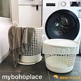民宿整理洗衣籃北歐簡約IG風米白色帶蓋帶把手雜物收納桶【勇敢者戶外】