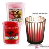 YANKEE CANDLE 香氛蠟燭-真愛玫瑰+玫瑰(49g)X2+祈禱燭杯【美麗購】
