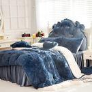 法蘭絨床罩組 加大雙人床罩組 深藍色 羊...