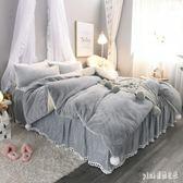 公主風兔兔絨少女床上四件套冬季加厚珊瑚絨雙面絨法蘭法萊絨被套 js11086『Pink領袖衣社』