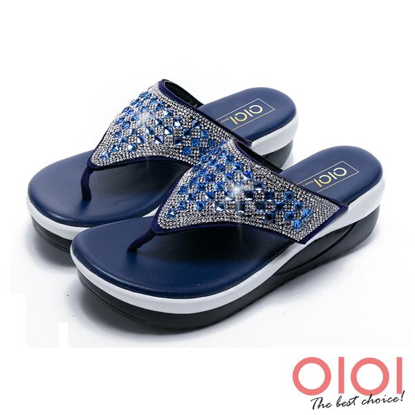 涼拖鞋 MIT閃耀水鑽夾腳厚底涼拖鞋(藍)*0101shoes【18-5156b】【現貨】