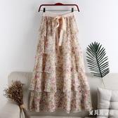 高腰雪紡碎花裙 拼接荷葉邊蛋糕裙中長款半身裙女裙子 LF5884『寶貝兒童裝』