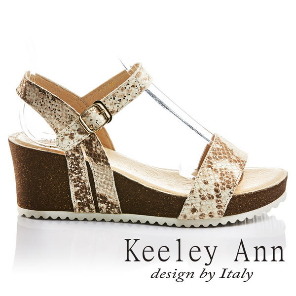 ★2017春夏★Keeley Ann神祕氣息~蛇紋質感寬版一字全真皮楔形涼鞋(棕色)