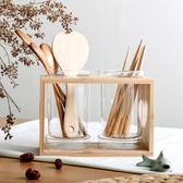 全館85折家用玻璃筷子筒簡約日式筷籠筷子架99購物節