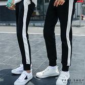Free Shop 側邊白條紋復古撞色休閒縮口褲運動棉質長褲棉褲 黑白色系有大尺碼男女情侶款【QTJ2217】