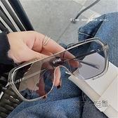 韓版ins網紅連體大框墨鏡男女士小紅書大臉顯瘦眼鏡開車太陽鏡潮 魔法鞋櫃