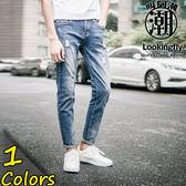 叫阿潮-大尺碼 刷白破壞造型牛仔長褲【TGK9901】