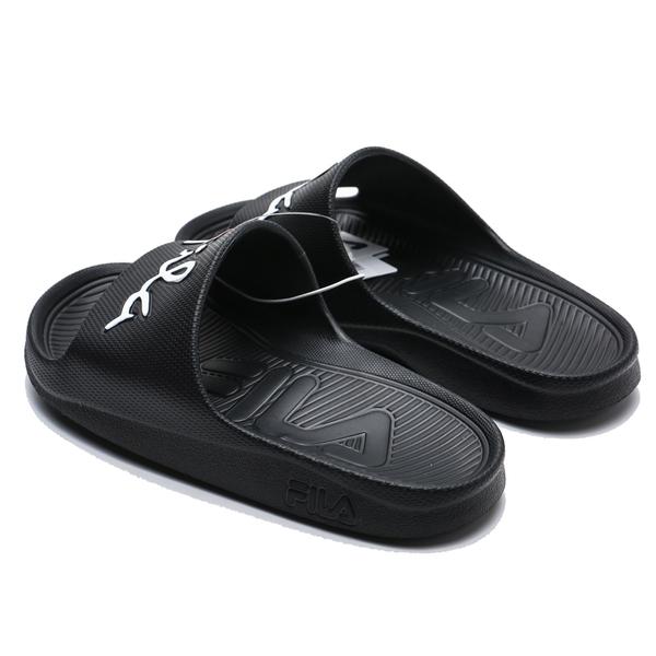 FILA (偏小建議大半號) 黑 白紅 草寫LOGO 橡膠 拖鞋 (布魯克林) 4S326U001